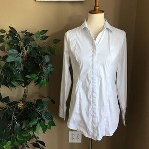 White House Black Market Button Down Tunic Shirt